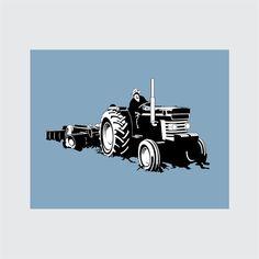 Vintage Tractor Art Print, 8x10 PRINTABLE, MasseyFerguson 185, Farming Instant Download, Digital