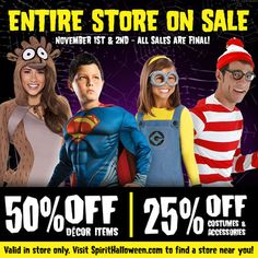 our deadliest sale of this season is happening now get to your local spirit halloween store for 50 off decor items and 25 off costumes and accessories - Spirit Halloween 50 Off Coupon
