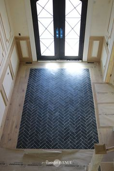 Slate Herringbone Entry Way A timeless and durable design from tile entryway wit. Slate Herringbone Entry Way A timeless and durable design from tile entryway with wood floor , sour Entryway Tile Floor, Entry Tile, Wood Floor Bathroom, Entry Foyer, Entrance Hall, Herringbone Tile Floors, Slate Flooring, Laminate Flooring, Flooring Options