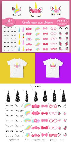 This unicorn SVG cut file kit is perfect diy birthday party decor for unicorn theme birthday parties! You can also use these unicorn cut files for vinyl decal projects using your Cricut or Silhouette cutting machines to make shirts, totes, tumblers, DIY Birthday Diy, Unicorn Birthday Parties, Unicorn Party, Birthday Ideas, Vinyl Crafts, Vinyl Projects, Cricut Vinyl, Vinyl Decals, Diy Nursery Decor