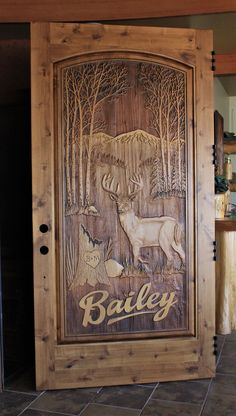 Hand carved to perfection, Great River Door Co. offers beautiful carved wood front doors for homes, lake houses & cabins. Custom Exterior Doors, Double Doors Exterior, Custom Wood Doors, Wood Exterior Door, Wood Front Doors, Rustic Doors, Wooden Doors, Knotty Alder Doors, Wood Yard Art
