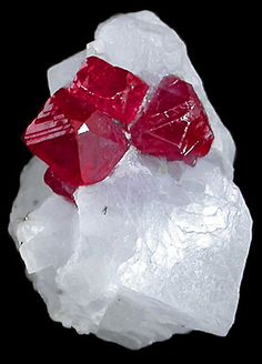 "Multiple ruby crystals, including two unusual ""spinel like crystals"" in calcite Matrix reportedly from Kyauk Sa Taung area (Mogok, Burma)"