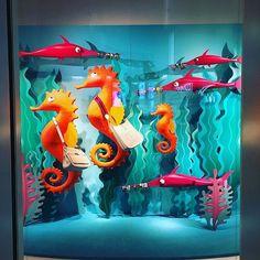 anthropologie window display under the sea Winter Window Display, Window Display Retail, Window Display Design, Retail Windows, Visual Merchandising, Art Public, Underwater Theme, Visual Display, Window Art