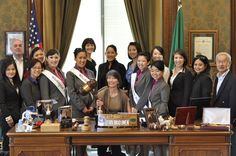 Bux4Gold and friends gathered in the Lieutenant Governor's office with the Japanese Queen members and Rep: Sharon Tomiko Santos. What an honor! — at Washington State Capitol.