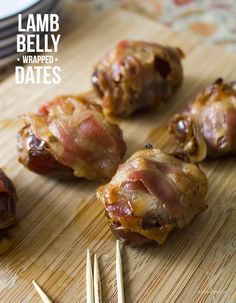 Plump Dates Stuffed with Goat Cheese and wrapped in thinly sliced cured lamb belly