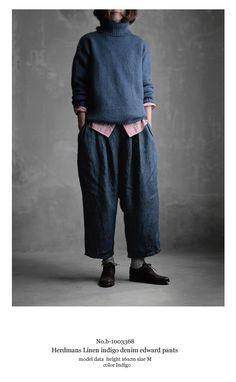【楽天市場】【送料無料】Joie de Vivreハードマンズリネンインディゴデニムエドワードパンツ:BerryStyleベリースタイル Oska Clothing, Made Clothing, Japanese Minimalist Fashion, Layered Fashion, Clothing Photography, Layering Outfits, Japan Fashion, Fashion Over 50, Pullover