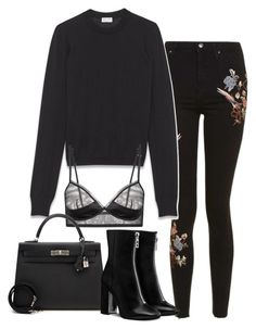 """Sin título #1260"" by vivig5 on Polyvore featuring moda, Topshop, Yves Saint Laurent y Hermès"