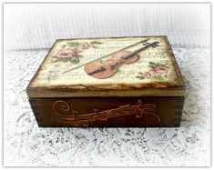 Wooden decoupage box jewelry box   tea box by CarmenHandCrafts
