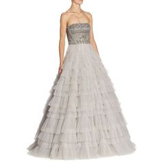 J. Mendel Strapless Tiered Gown ($8,490) ❤ liked on Polyvore featuring dresses, gowns, white gown, strapless ball gown, tiered dresses, beaded evening dress and white evening gowns