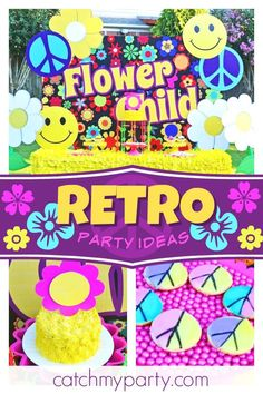 Check out this fun retro flower child mod 1960's birthday party! The cookies are awesome!!  See more party ideas and share yours at CatchMyParty.com #catchmyparty #partyideas #1960s #retroparty #hippyparty #vintage #flowerpower