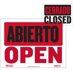 Bazic 9 inch X 12 inch Abierto Sign w/ Cerrado Sign on Back, Box of 24 Led Open Sign, Open Signs, Yard Sale Signs, For Sale Sign, Instagram Wedding Sign, Wet Floor Signs, No Soliciting Signs, Sign System, Exit Sign