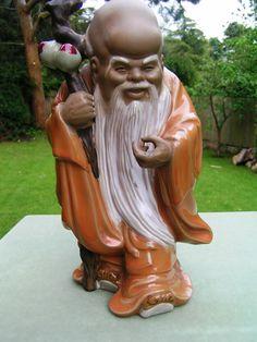 Chinese Shiwan Clay Mudman Mud Man Figure - Longevity God - with Fruit (Peach) | eBay