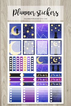 Moon, cat and stars planner stickers! These watercolor printable planner stickers inspired by night and galaxy! #stickers #moon #cat