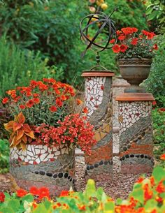 Eight, 10- and 18-inch-diameter PVC pipes cut to varying heights serve as the bases for these mosaic pillars. Overturned terra-cotta saucers turn two of the pipes into pedestals; the third cradles a flowerpot.
