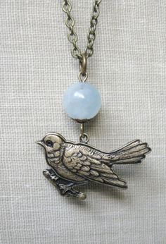 Bird necklace Spring robin solid brass bird