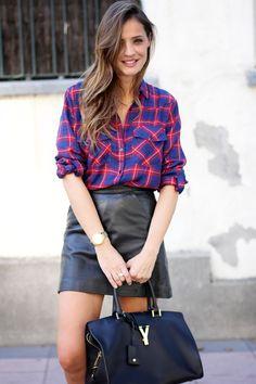 Plaid Shirt + Leather Skirt