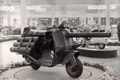 "The Vespa TAP, or ""Bazooka Vespa"", a scooter with a 3 inch cannon for use with paratroops. 1956."
