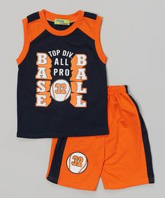 Navy baseball tank  orange shorts on Zulily.