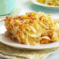 Makeover Sweet Kugel Recipe -This is a traditional recipe I make for the holidays. My close friend and I used to bake together until she moved 1,300 miles away. Now when I make this dish, I'm reminded of our time together. —Eileen Wolf, Abington, Pennsylvania