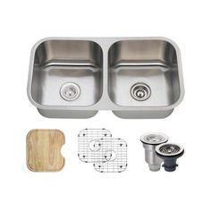 MR Direct 502A 18 Gauge Undermount Stainless Steel 32-1/2 in. Double Bowl Kitchen Sink Ensemble, Multicolor