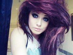 white scene hair | ... , blue eyes, emo girl , purple hair - inspiring picture on Favim.com