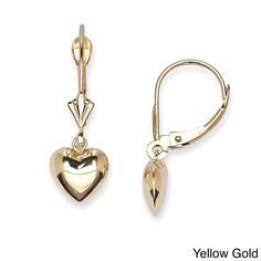 These beautiful solid 14k yellow or white gold hanging heart earrings are staple for every woman's jewelry wardrobe. Featuring comfortable leverback clasps perfect for comfortable all-day wear, this dangles showcase darling puffed heart drops.