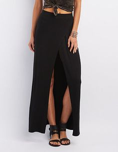 High Slit Wrapped Maxi Skirt: Charlotte Russe
