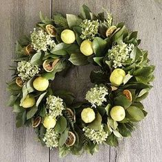 Add lemons and limes to your holiday wreath! What a beautiful and natural air freshener to your home.