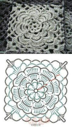 Crochet Flower Square with diagram.
