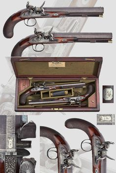 A case of flintlock pistols, John Manton & Sons, London, ca. 1814 .