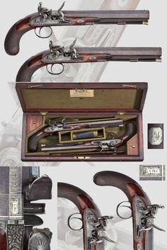 A case of flintlock pistols, John Manton & Sons, London, ca. 1814 .