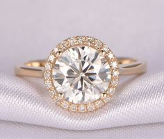 1.5ct Round Moissanite Engagement ring,7.5mm,14k Yellow gold,Plain Gold Band,Bridal Ring/Promise Ring/Propose ring,Two Tone Gold Available by milegem on Etsy