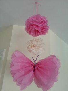 Wedding party decorations tissue paper pompoms Garlands butterflies pom poms | eBay