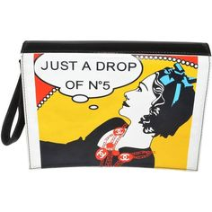 "Preowned Chanel '03-04 ""just A Drop"" Pop Art Clutch Bold Red Yellow... ($2,400) ❤ liked on Polyvore featuring bags, handbags, clutches, yellow, wristlet purse, red purse, chanel handbags, chanel purse and white purse"