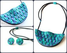Weaving work with polymer clay Diy Jewelry, Jewelery, Handmade Jewelry, Jewelry Making, Polymer Clay Necklace, Polymer Clay Beads, Polymer Clay Creations, Beautiful Necklaces, Bracelet Making