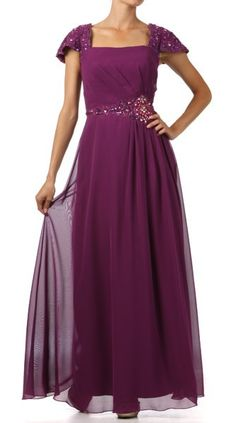 Plus Size Plum Dress Cap Sleeve Mother of Groom Dress Long Bead  $177.99