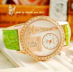Luxury Crystal Diamond Eiffel Tower Lady Girl Quartz Green Watch Paris