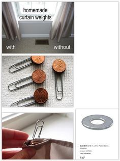 Homemade Curtain Weights ... she used pennies but you could do the same thing with flat washers from Home Depot or any box store, they have heavier weights in flat washers .................. #DIY #curtains #curtainweights #pennies #flatwasher #paperclip #howto #tips #decor #crafts Homemade Curtains, Hanging Curtains, Drapes Curtains, Curtain Weights, Box Store, Washers, Pennies, Paper Clip, Home Depot