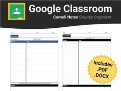Help students take meaningful notes with this Google Classroom ready Cornell notes graphic organizer. No more messy formatting errors upon converting from .pdf or .docx to Google Docs; however, these file formats are also included in the download for your convenience.