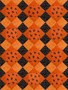 Black Cats Halloween Quilt Blocks Kit Pre-Cut - Quilt Kit Shop