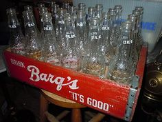 vintage barqs root beer in glass bottle | Vintage Old Barqs Root Beer Wooden Crate Case Bottles Antique Soda ...