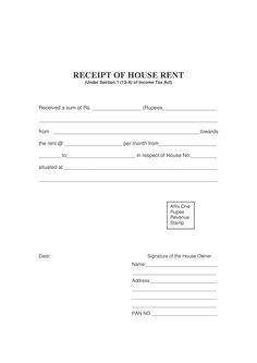 Download Rent Receipt Template India