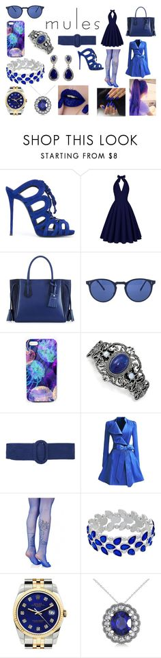 """Blue Mule Central"" by fallen-wolf ❤ liked on Polyvore featuring Giuseppe Zanotti, Longchamp, Oliver Peoples, Nikki Strange, 1928, Oscar de la Renta, WithChic, Leg Avenue, Rolex and Allurez"