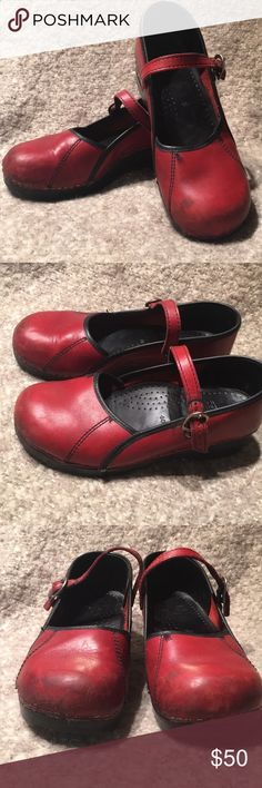 DANSKO red Mary Jane clogs GUC. A few scuffs as pictured. Awesome deep red color. Dansko Shoes Mules & Clogs