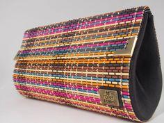 Bolsa bambu colorido <br> <br>Medidas: 30 x 17 x 6 cm