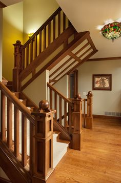 Prairie style ranch remodel staircase and railing detail Ranch style staircase