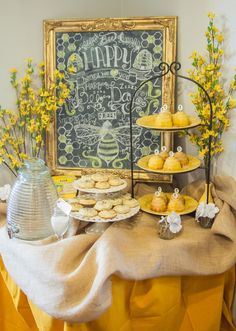 Mommy To Bee, Tea Party Decorations, Bumble Bee Decorations, Graduation Decorations, Bee Party, Tea Party Birthday, Birthday Ideas, 80th Birthday, Mellow Yellow
