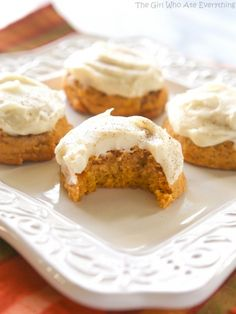 Melt In Your Mouth Pumpkin Cookies - super soft pumpkin cookies with cream cheese frosting. the-girl-who-ate-everything.com