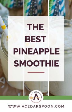 This is my favorite healthy Pineapple Smoothie to make year round! You can use fresh or frozen pineapple, bananas, coconut milk and Greek yogurt. Pineapple Yogurt Smoothie, Yogurt Smoothies, Healthy Smoothies, Frozen Pineapple, Frozen Banana, Banana Uses, Banana Contains, Strawberry Kitchen, How To Make Smoothies