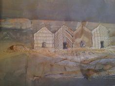 Beach Huts vintage laura edgar www.lauraedgar.co.uk #textile art # embroidery #collage